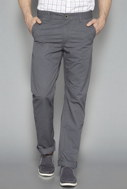 Westsport Mens Grey Solid Chinos