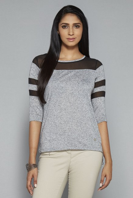 LOV Grey Solid Jennifer Top