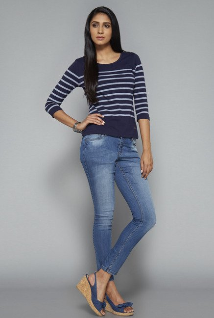 LOV Navy Striped Willy Top