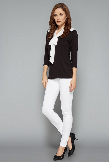 Wardrobe Black & White Solid Ricky Top