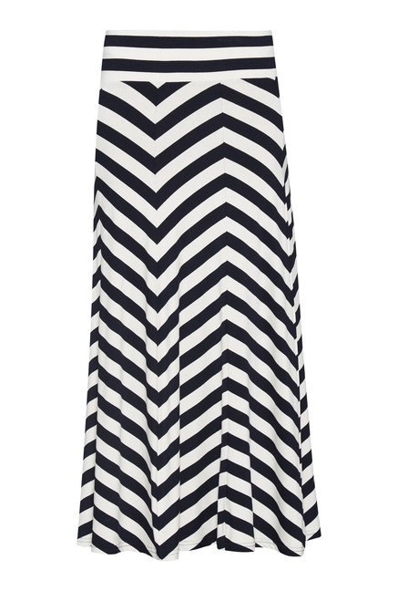LOV Navy & White Striped Cecila Skirt
