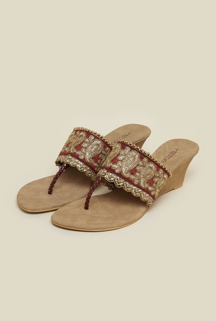 Metro Maroon Ethnic Slip-On Wedges