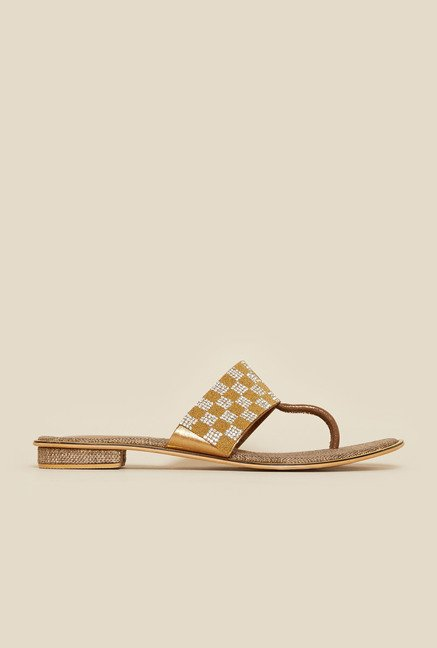Metro Gold Diamond Embellished T-strap Sandals