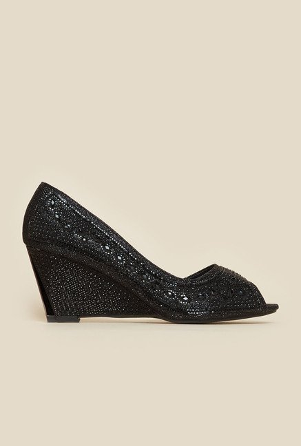 Metro Black Beaded Wedges