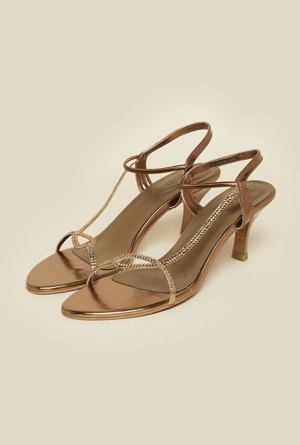 Metro Antique Gold Kitten Heel Sandals