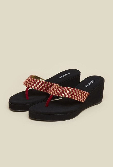 Mochi Red Wedge Sandals