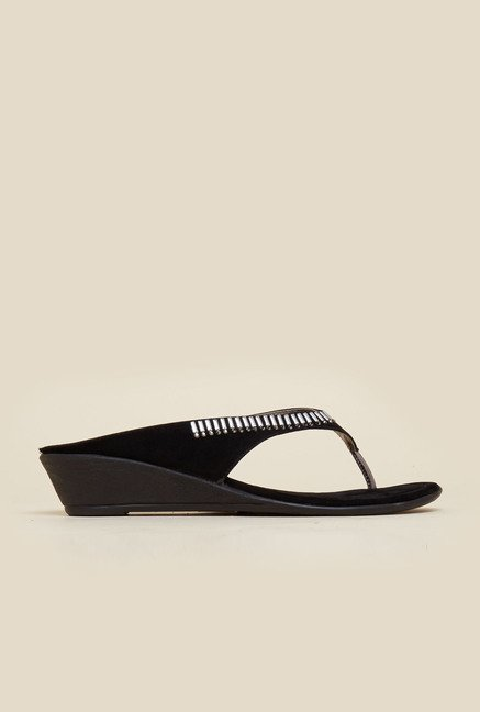 Mochi Black Wedge Heel Sandals