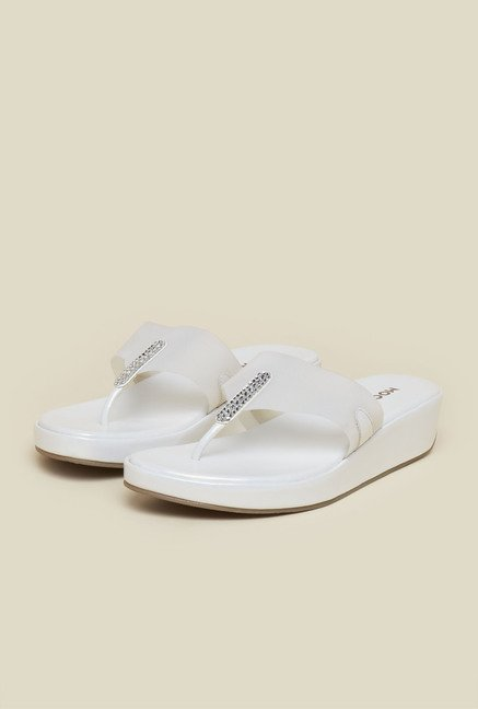 Mochi White Wedge Sandals