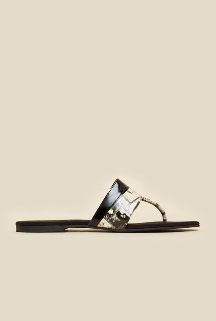 Mochi Black Newspaper Print Flat Sandals