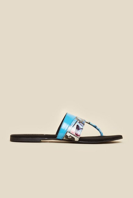 Mochi Blue Newspaper Print Sandals