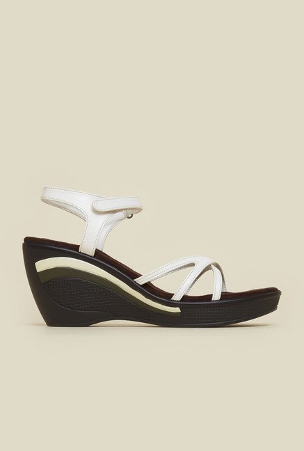 Mochi White Cross Strap Wedges
