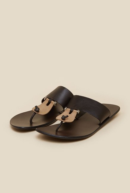 Mochi Brown Leather T-Strap Sandals