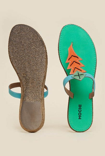 Mochi Green Casual Flat Sandals
