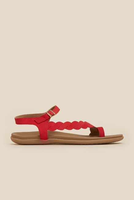 Mochi Red Twist Back Strap Sandals