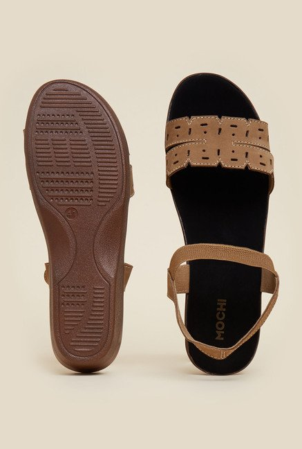 Mochi Camel Brown Wedge Sandals