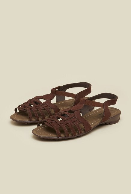 Mochi Brown Huarache Flat Sandals