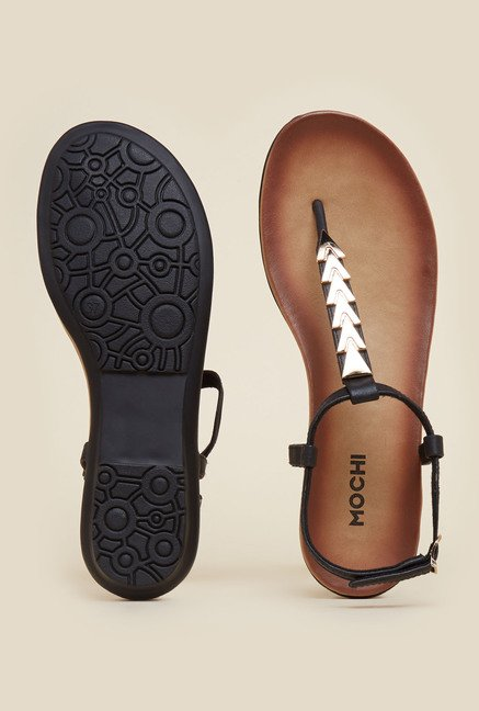Mochi Black Casual Flat Sandals