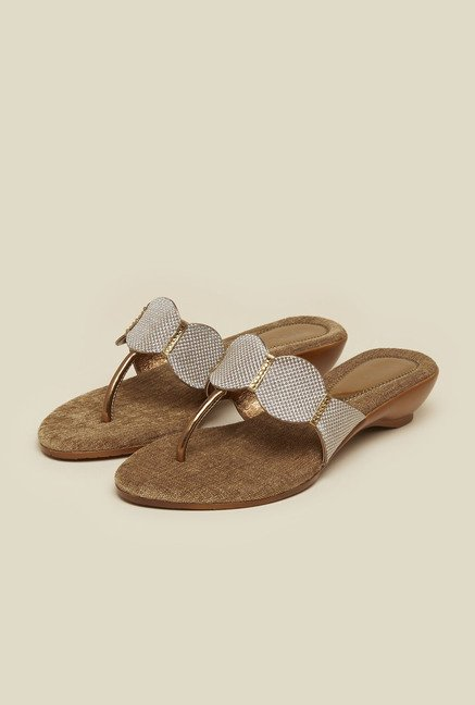 Mochi Antique Gold Wedge Sandals