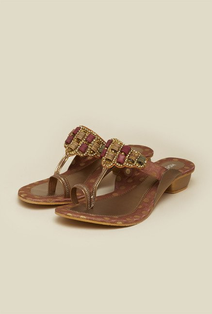 Mochi Antique Gold Block Heel Sandals