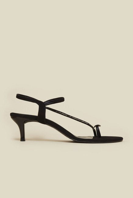 Mochi Black Back Strap Heel Sandals