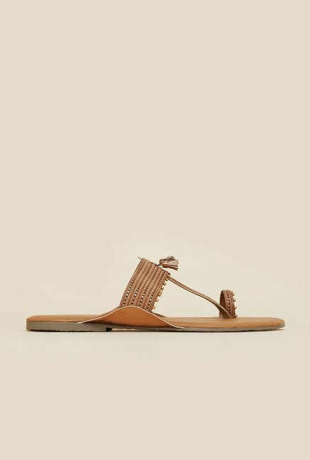 Mochi Antique Gold Tassel Sandals