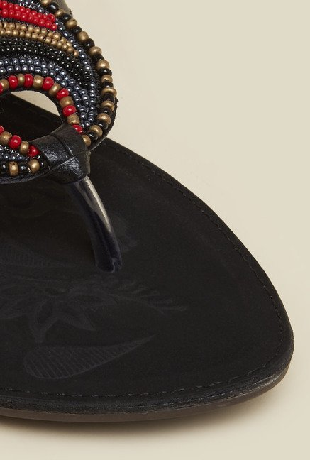 Mochi Black Beaded Flat Thongs