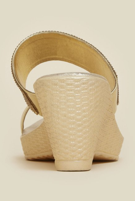 Mochi Gold Wedge Heel Sandals