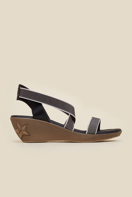 Mochi Black Cross Strap Wedge Sandals