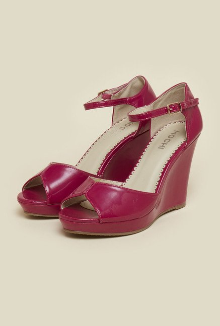 Mochi Reddish Pink Ankle Strap Wedges
