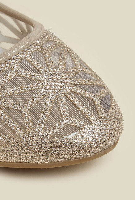 Mochi Gold Ballet Flat Shoes