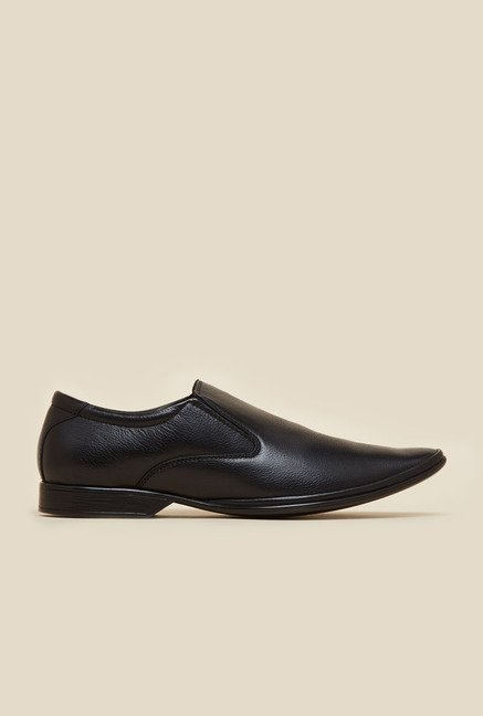 Mochi Black Leather Formal Slip-Ons