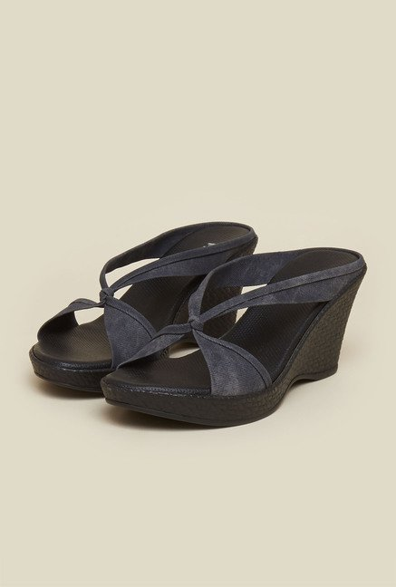 Mochi Grey Cross Strap Wedges