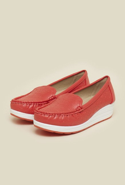 Mochi Red Wedge Heel Loafers