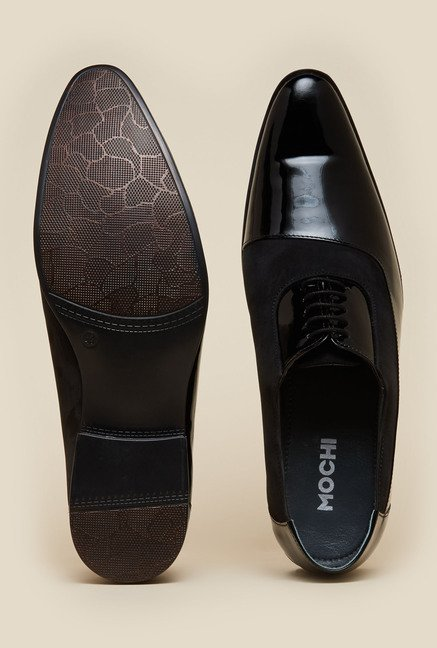 Mochi Black Derby Lace-up Shoes