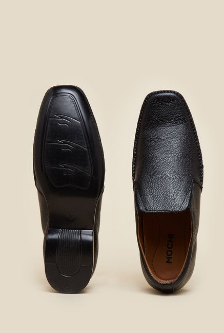 Mochi Black Leather Slip-On Shoes