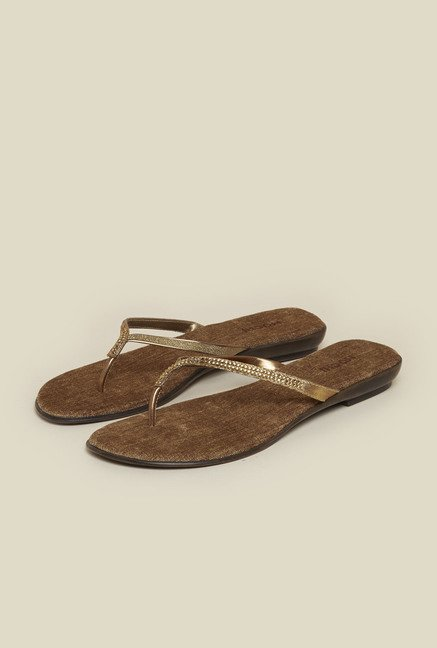 Mochi Antique Gold Flat Thongs