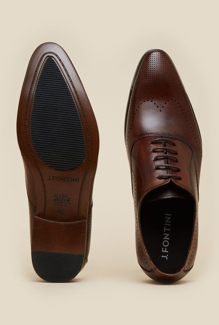 J. Fontini by Mochi Brown Leather Oxford Shoes