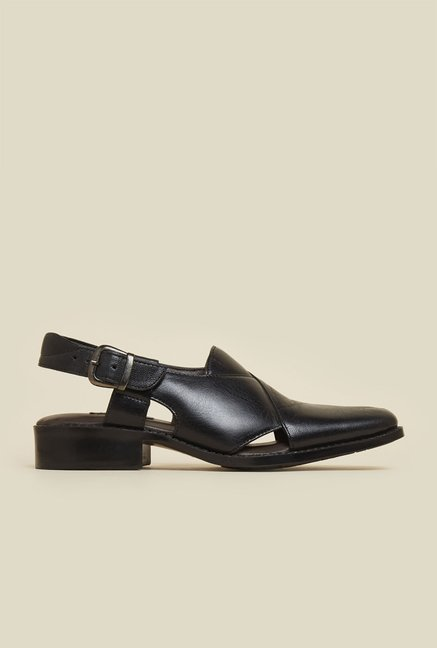 Mochi Black Leather Back Strap Sandals