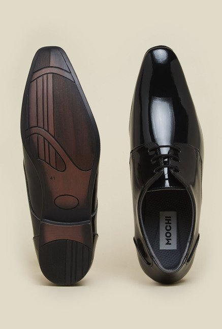 Mochi Black Derby Formal Shoes