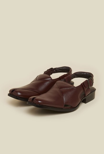 Mochi Brown Leather Back Strap Sandals