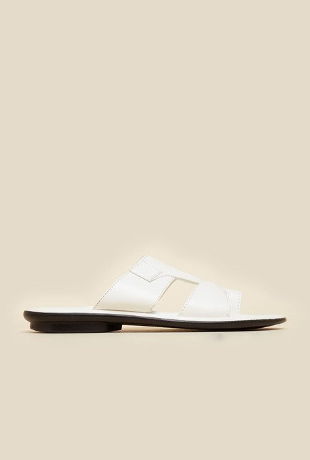 Mochi White Leather Sandals