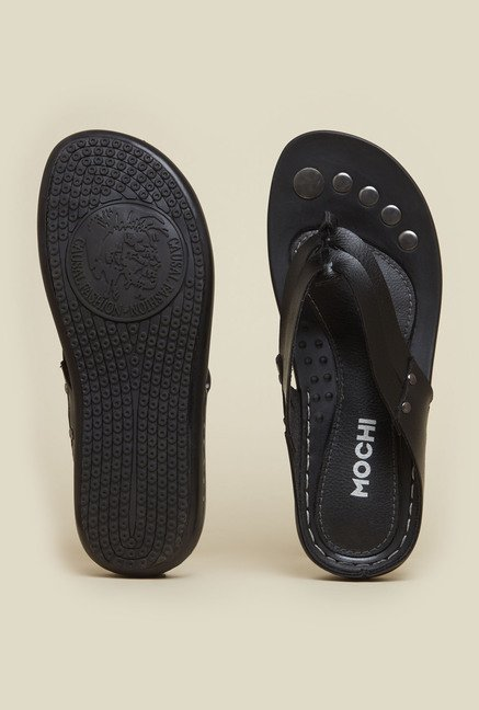 Mochi Black Leather Thongs