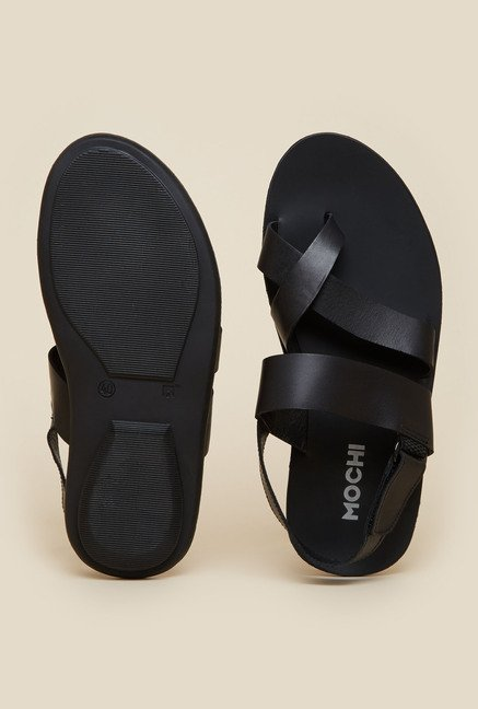 Mochi Black Leather Formal Sandals