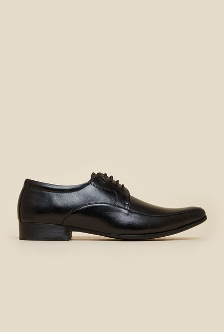 Mochi Black Leather Formal Derby Shoes