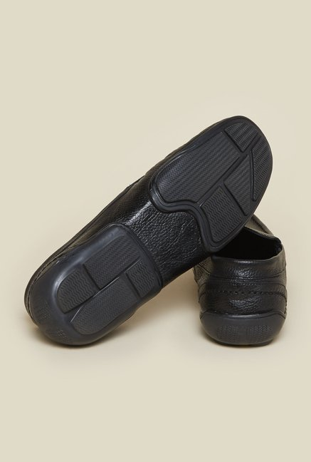 Mochi Black Leather Moccasins