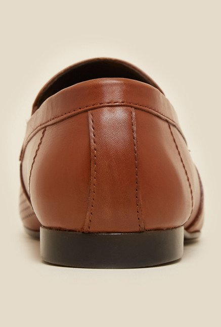 Mochi Tan Leather Horsebit Loafers