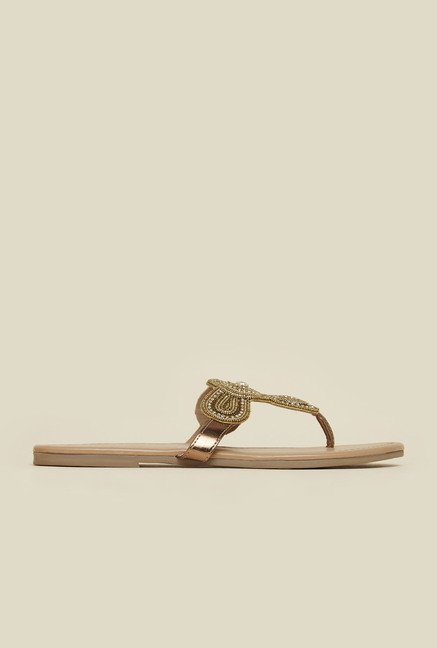 Mochi Antique Gold Beaded Flat Sandals
