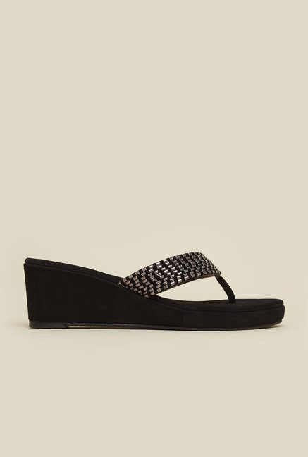 Mochi Black Velvet Wedge Heel Sandals