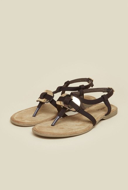 Mochi Dark Brown Buckle Sandals