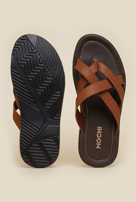 Mochi Tan Cross Strap Casual Sandals